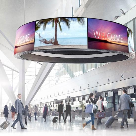 55 Inch Curved OLED Flexible Ceiling OLED Spliced Screen Display For Airport